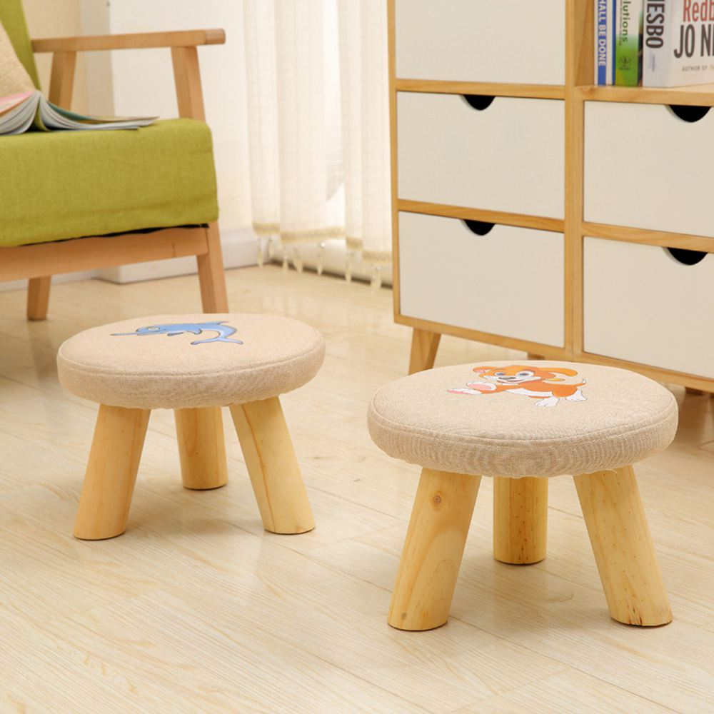 Small Soft Stool,Shoe Bench Home Sofa Stool Animal Linen Solid Wood Table Stool Footstool For Adults And Children Stool