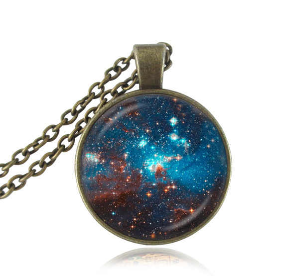 Antique neckalce nebula pendant space jewelry galaxy neckless women planet choker glass dome pendant jewellery friends gifts HZ1
