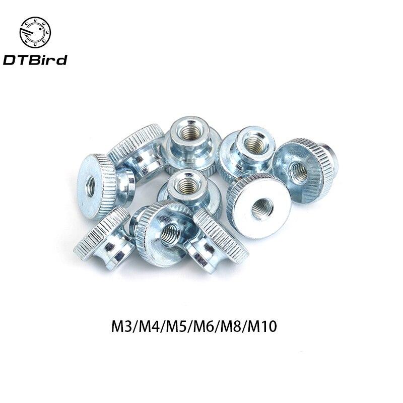10Pcs GB806 M3//4//5 Galvanized Knurled Thumb Nut instrument Hand Tighten Nut