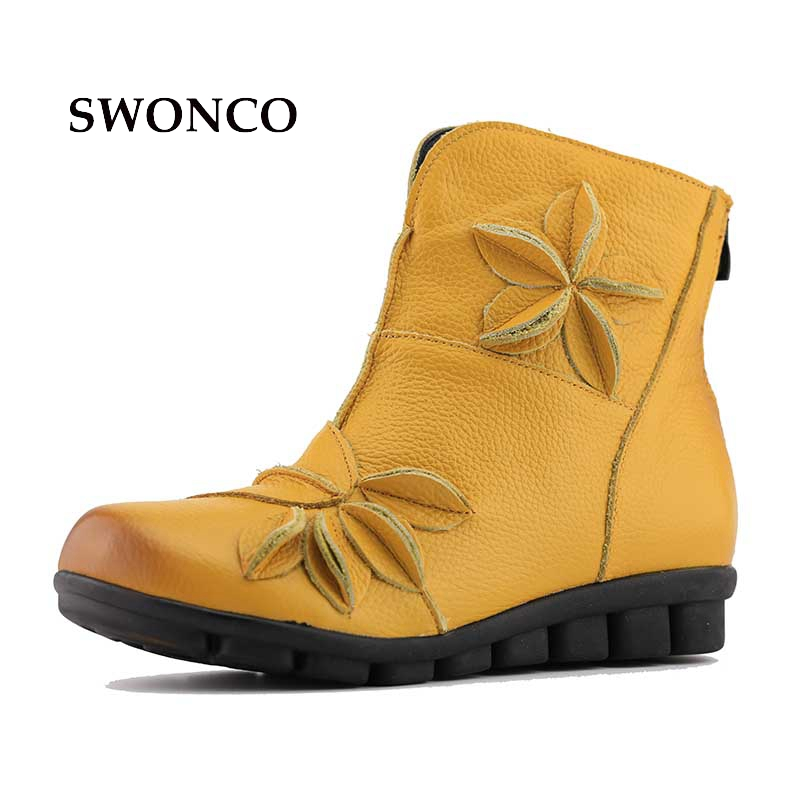 Fashion Flower Genuine Leather Women Ankle Boots Comfortable Plush Warm in Winter 2.5cm Height Increasing Women Retro Shoes serene handmade winter warm socks boots fashion british style leather retro tooling ankle men shoes size38 44 snow male footwear