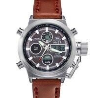 AMST Brand Men Leather Canvas Strap Sport Quartz Watch Led Digital 50M Waterproof Swim Army Military