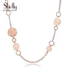 Длинные колье из розового золота для женщин женская цепь свитера