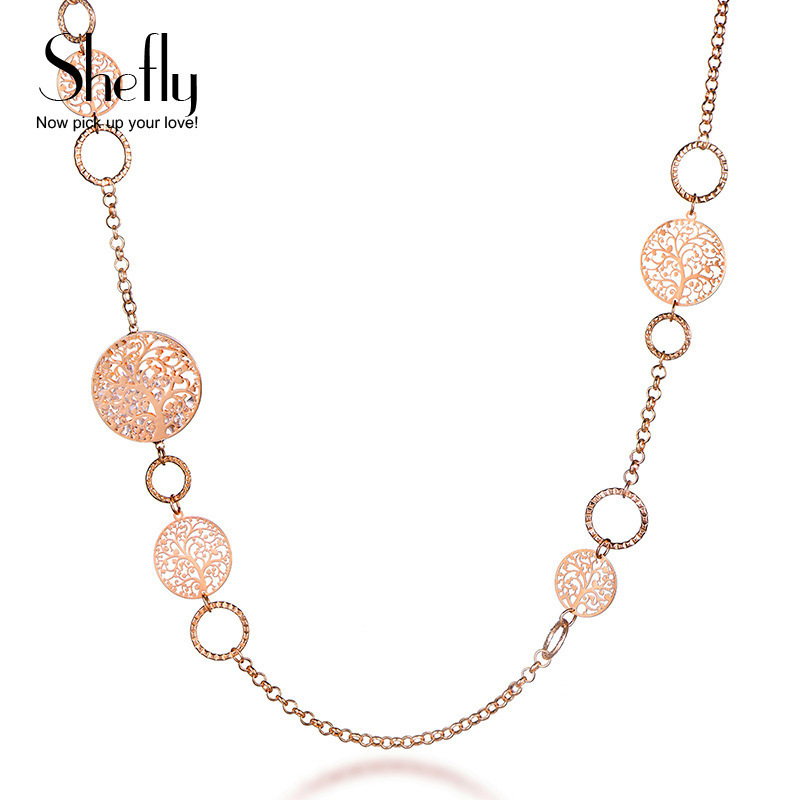 Shefly Alloy Rose Gold Color Brand Long Necklace Statement Jewelry Gifts For Women 2017 Fashion Tree Of Life Pendant XL07685 цена