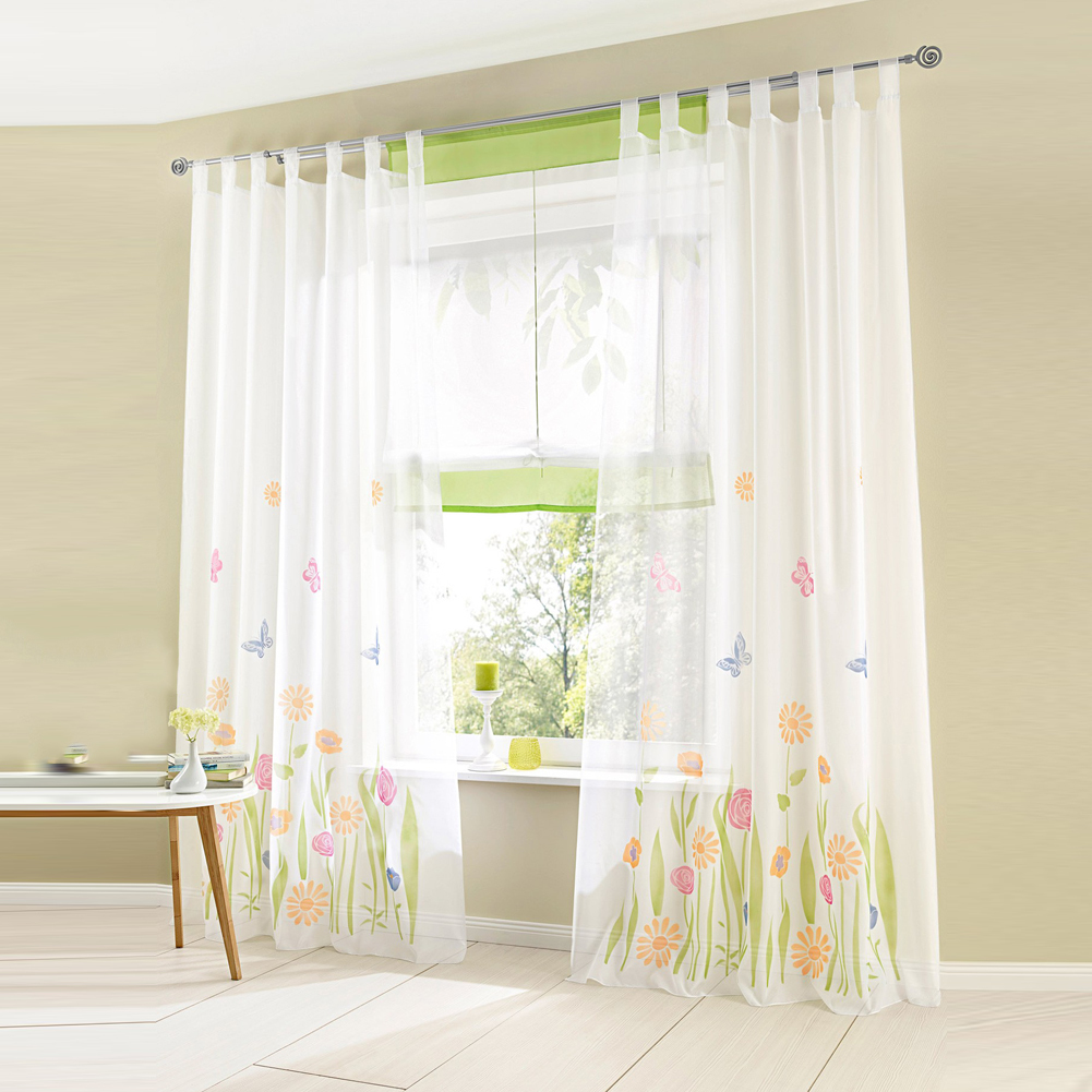 All products bedroom bedroom decor window treatments curtains - Window Screening Balcony Finished Product Sunflower Kitchen Bedroom Curtains Burnout Design Flower Tulle Curtain For Living