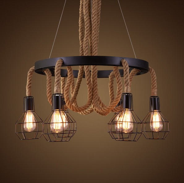 Retro Loft Style Hemp Rope Droplight Edison Pendant Light Fixtures Vintage Industrial Lighting For Dining Room Hanging Lamp vintage industrial loft pendant lights fixture hemp rope retro e27 holder wicker pendant lighting for dining room diy lamp