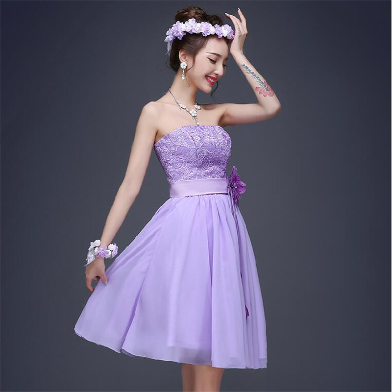 5 Style Short Purple Bridesmaid Dress 2015 Sexy Strapless Off the ...