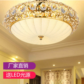 European ceiling lamp gold round crystal bedroom study room dining room lamp household lamp