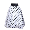 2015 summer organza skirts women tutu sweet high waist elastic bow skirt dot print ball grwon knee-length skirts sasia for women