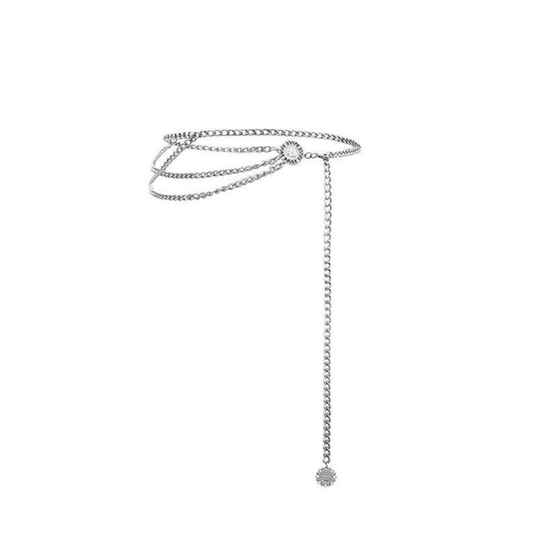 Женский модный пояс, высокая талия, Золотая узкая металлическая цепочка, массивная бахрома - Цвет: Style 1 sliver