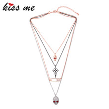 KISS ME Unique Crystal Cross Skull Pendant Necklace Multi Layers Alloy Chain Vintage Necklace Women Bijoux(China)