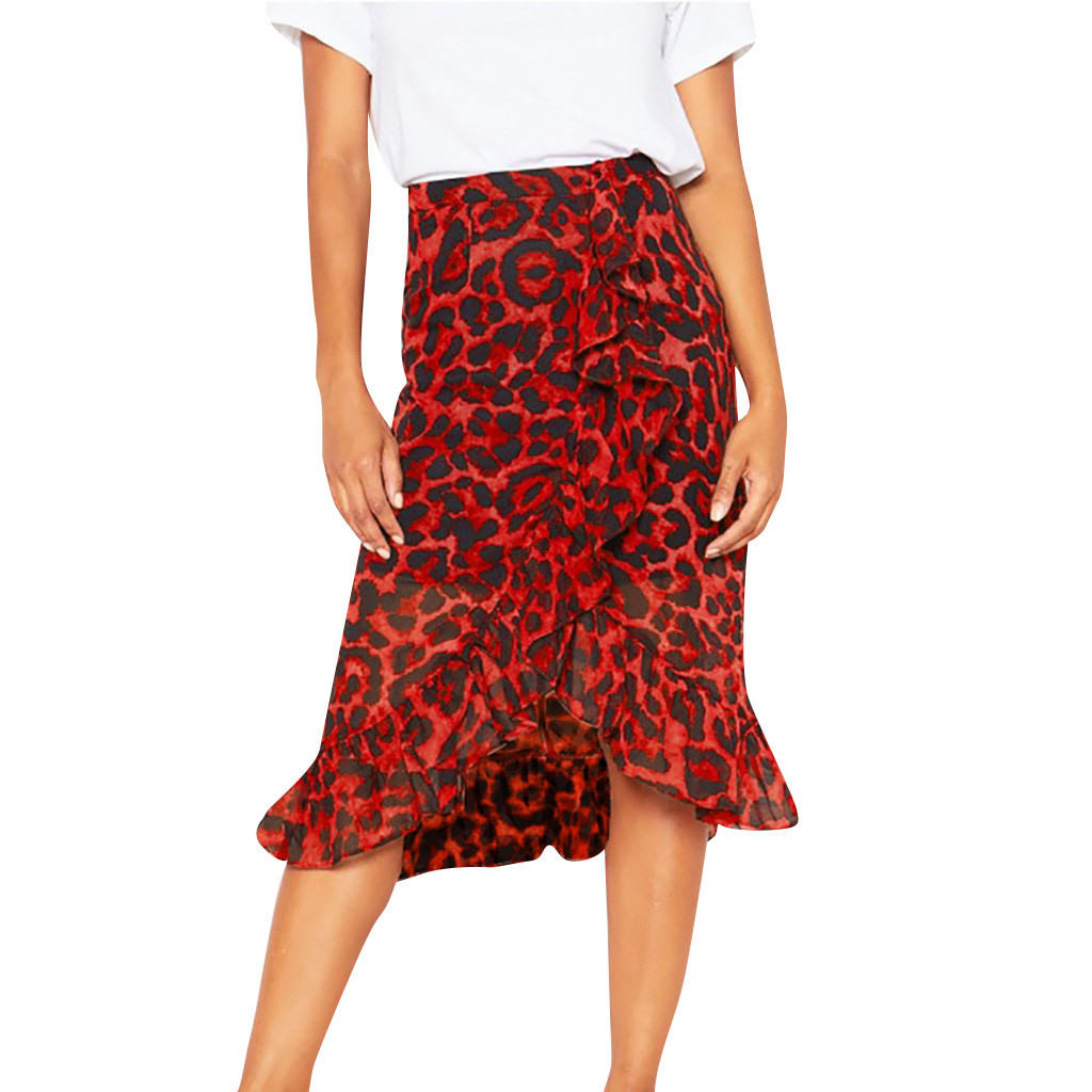Leopard Print Vintage Long  Women's   Casual High Waist Pleated Skirt