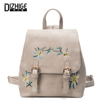 Fashion Floral Pu Leather Backpack Women Embroidery School Bag For Teenage Girls Brand Ladies Small Backpacks
