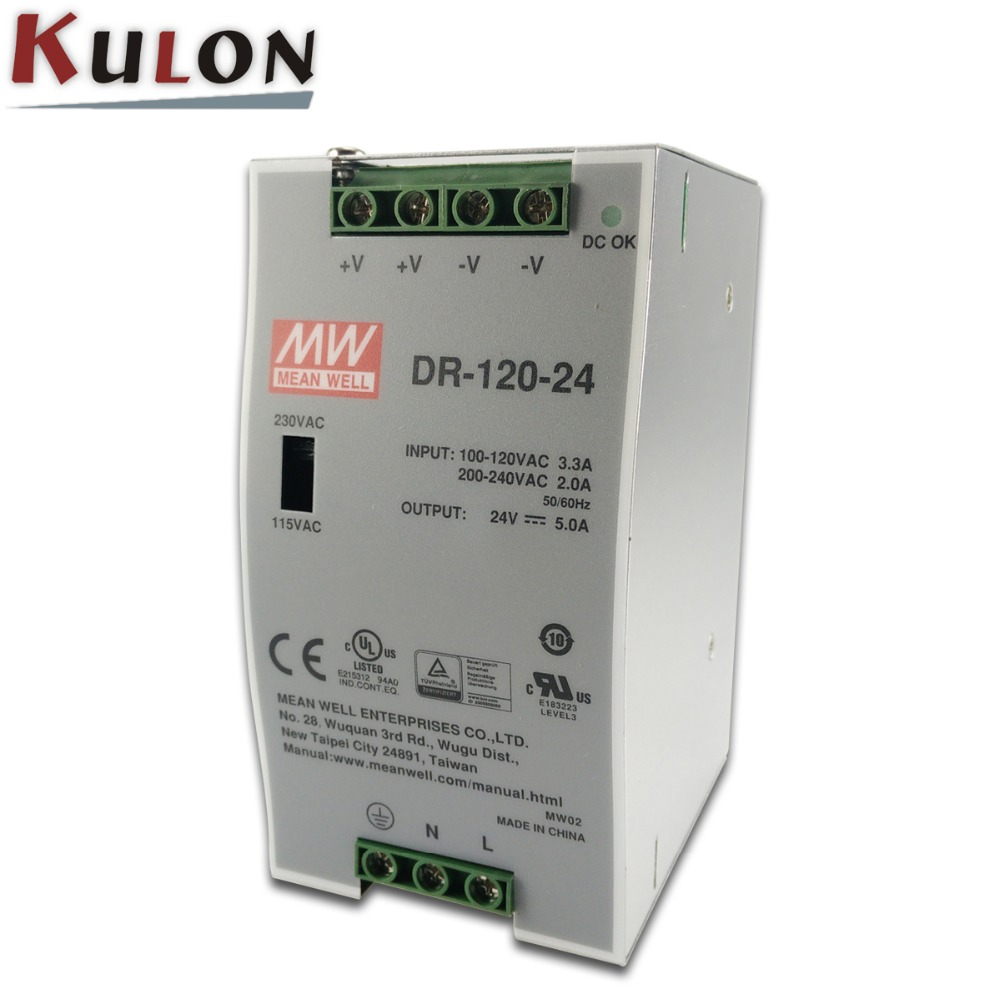 Genuine Mean Well DR-120-24 120W Single Output Industrial DIN Rail Power Supply 120W 24V 5A power supply 12 12 mean well dr 120 24 24v 5a meanwell dr 120 120w single output industrial din rail power supply