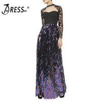 INDRESSME Sexy Lace Strapless Autumn Women Bandage Party Dress Elegant Full Sleeve Sequined O Neck Floor