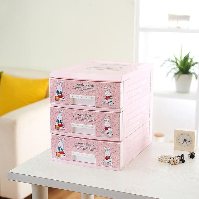 Along The United States Pink Rabbit Drawer Storage Cabinets Lockers Finishing Cabinet Desktop Plastic Toys Filing