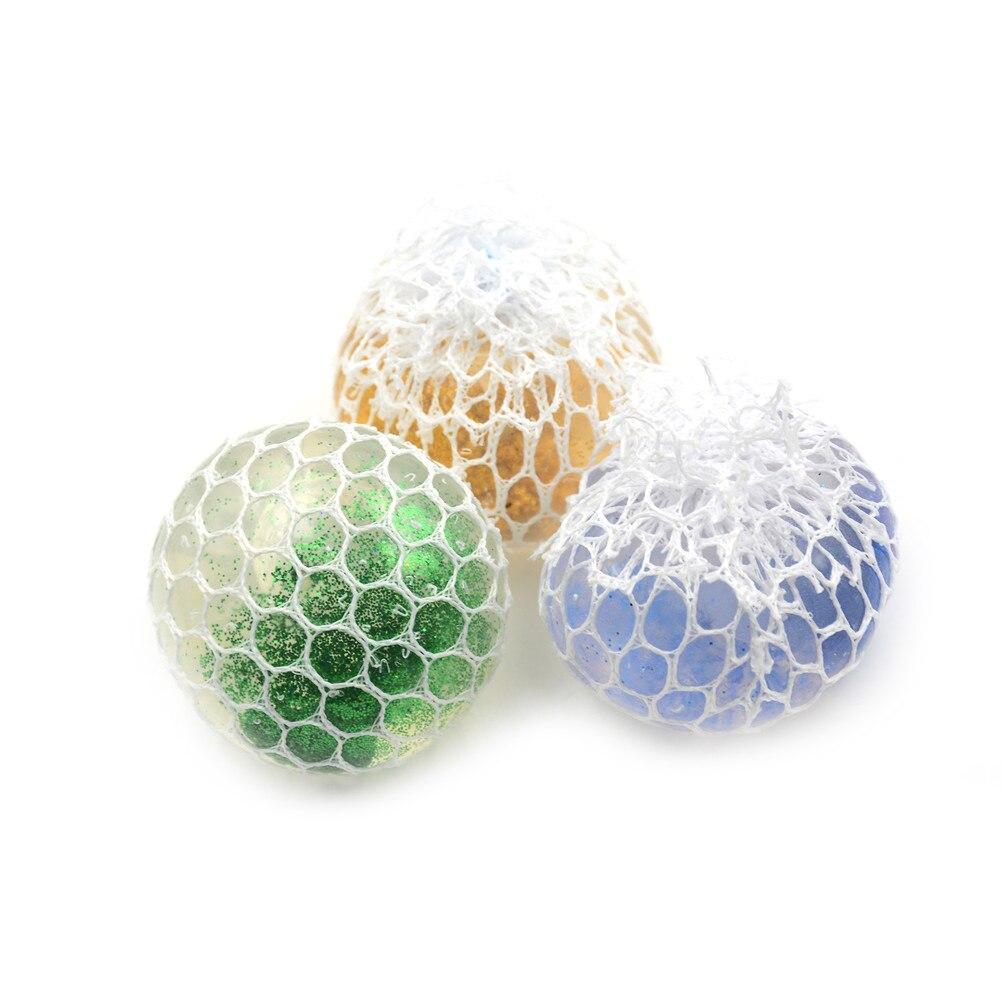 1 шт случайный 6 см в форме винограда, сдавливающий мяч для снятия стресса для рук, для упражнений на запястье, для детей и взрослых, сдавливающий мяч с блестками