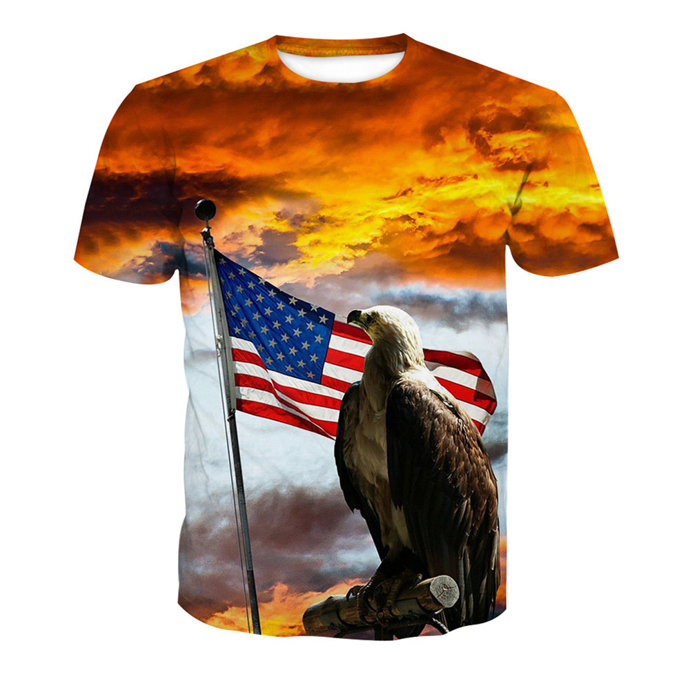 Eagle Watch Flag t shirt Men 3D Animal Fitness T-Shirts 6XL Mens Hip Hop Streetwear Summer Short Sleeve Romantic Sky T shirts