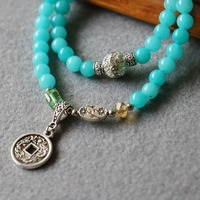 Hot 6mm Blue Chalcedony Bracelet Retro Alloy Copper Coin Pendant Female Jewelry Bracelet Multilayer Chain Necklace Natural Stone