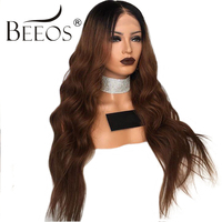 BEEOS Peruvian Remy Hair Ombre Human Hair Lace Wigs Pre Plucked 150% Density Glueless Lace Front Wig For Women With Baby Hair