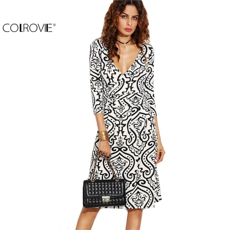 COLROVIE Profunda V Cuello de La Vendimia Imprimir Wrap Dress Ladies Encuadre de