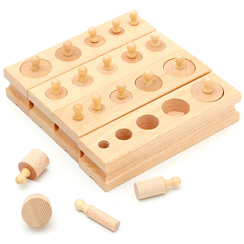 Montessori Sensory Toys Cylinder Set Preschool Educational Learning Wooden Toys For Children Juguetes Montessori ME2344H