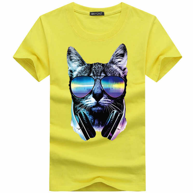 2019 Summer Men's T-shirts Casual Short-Sleeved Cotton Hip-Hop Tee Shirt homme music DJ cat printed Funny 3D t shirt men tees