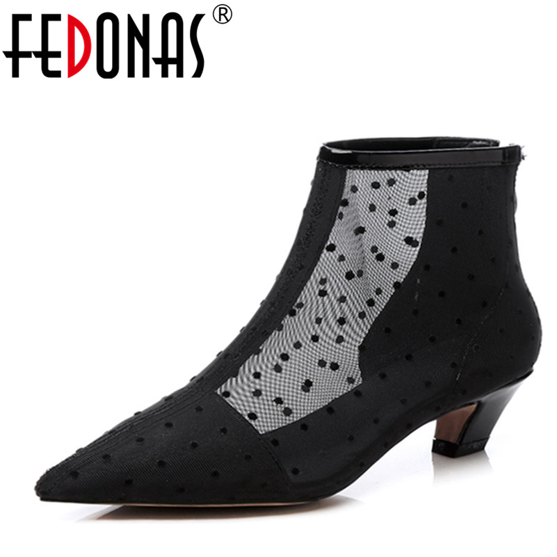 FEDONAS Spring Summer Women Boots 2018 Fashion High Quality Mesh +Genuine Leather Female Shoes Woman Black White Sexy Pumps 2018 spring autumn new genuine leather ankle boots nice spring hollow mesh boots women shoes female fashion zipper summer shoes