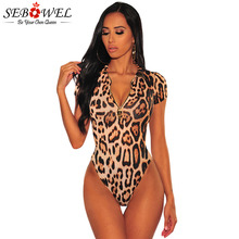 цены на SEBOWEL 2019 Leopard Print Zipper Short Sleeve Bodysuit Woman Summer Sexy Bodycon Ladies Body Top Clothes Female Party Bodysuits в интернет-магазинах