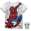 freeshipping!2015 baby cartoon spider-man t-shirt baby boys short sleeve cotton tees tops leisure summer t shirts gray