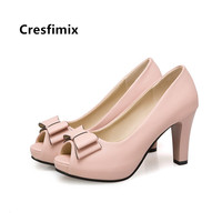 Cresfimix Women Fashion Plus Size 34 to 43 Peep Toe High Heel Pumps Lady Casual White Spring Summer High Heels Cool Shoes C5456