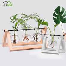 Desktop Glass Planter Vase with Retro Solid Wooden Stand and Metal Swivel Holder for Hydroponics Plants Home Garden Supplies