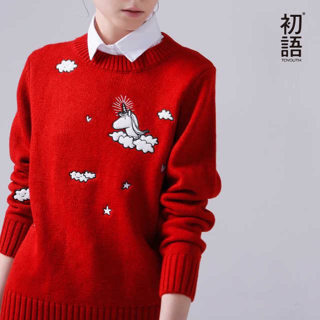 Toyouth 2017 New Arrival Women Pullovers Sweaters Autumn Cartoon Embroidery O-Neck Sweaters