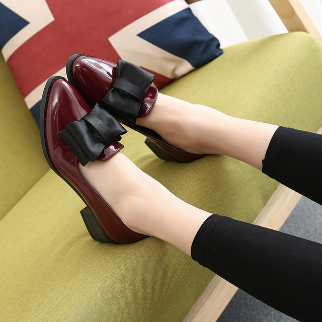 British Style Autumn Low-Heeled Pumps Shoes Preppy Style Pointed Toe Bowtie Square Heel Fall England Leather Shoes