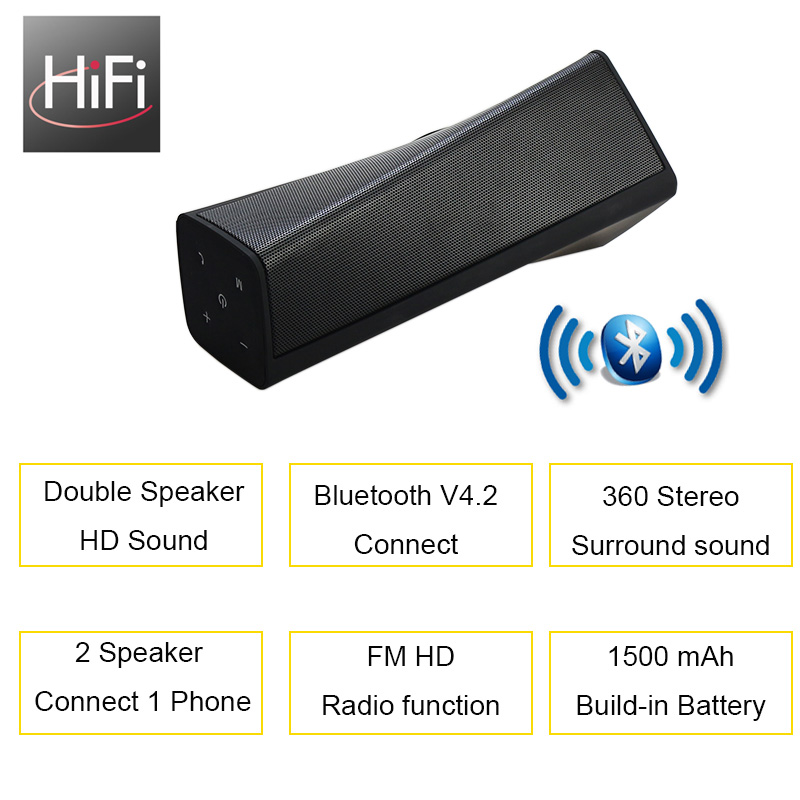 Bluetooth Portable Speaker Subwoofer Wireless Bass FM Radio Outdoor Computer Music Audio Bass Stereo Loud Speaker for Phone PC 1
