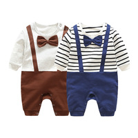 2018 Newborn Baby Boy Clothes Gentleman Infant Romper Long Sleeve Cotton Baby Girl Rompers Patchwork Jumpsuit