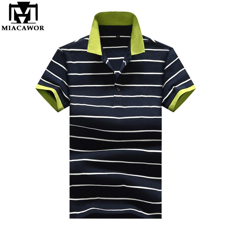 MIACAWOR New 2019 Fashion Striped Mens   Polo   shirts Summer Short-sleeve Baseball   Polo   shirts Casual Camisas Men Tops MT645