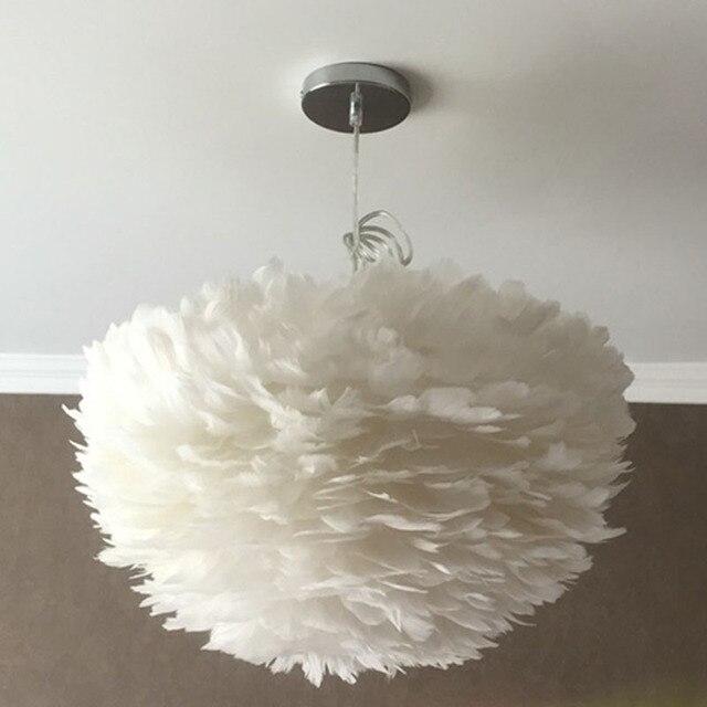 Américain blanc plume lustre nordique moderne simple salon chambre chaud creative personnalité enfants de chambre art