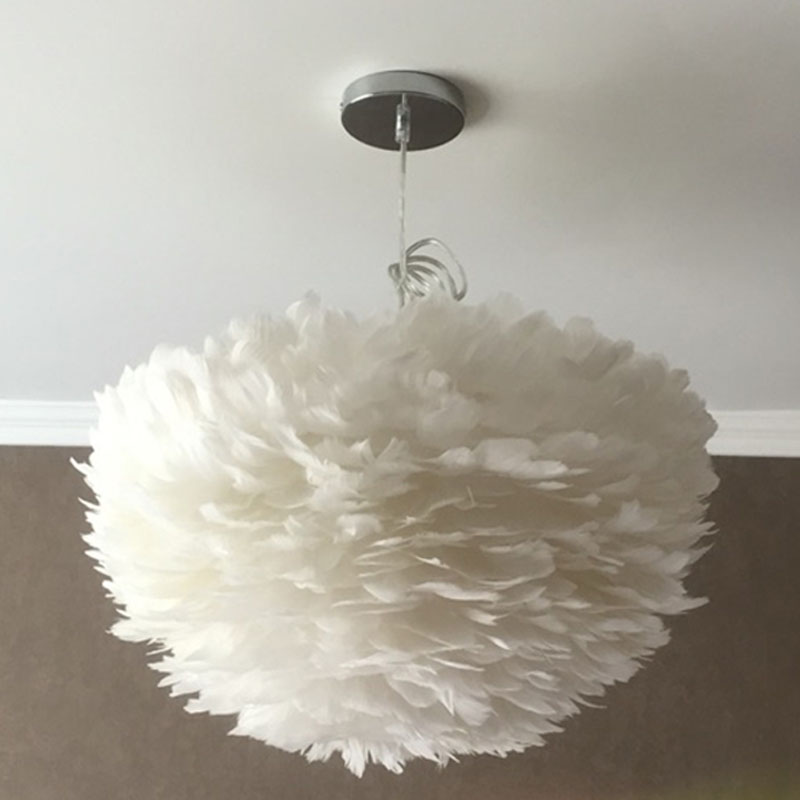 American white feather chandelier Nordic modern simple living room bedroom warm creative personality children's room art lights feather light feather chandelier lighting bedroom living room chandelier five layers of feathers shipping superden