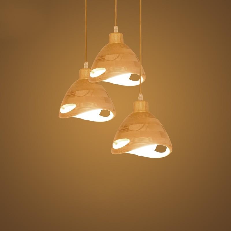 Bois massif cuisine lampes suspendues japonais créatif bois Bar Loft salle à manger suspension lumières maison déco Restaurant luminaires