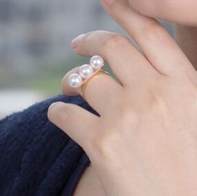 Bijoux de mariage AAA + + 7-7.5mm Réel naturel Akoya blanc perle ronde Anneau 18 kgold - 3