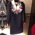 ВЫСОКОЕ КАЧЕСТВО, Новые Моды 2017 Дизайнер Взлетно-Посадочной Полосы Dress женская С Длинным Рукавом Вышивка Цвет Блока Diamond Embellished Dress