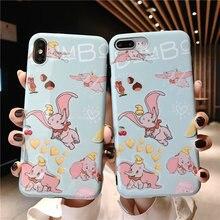 Cartoon Disneys Dumbo Case For iPhone 6 6S X XS Capa 8 7 Plus XR Max Fly Elephant Soft TPU Glossy Phone Cover