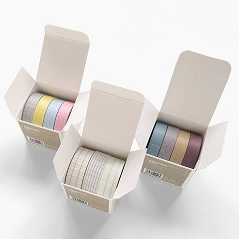 Washi-Tape Stickers Scrapbooking Japanese-Planner-Accessory Foil Decorative-Grid Paper-Basic