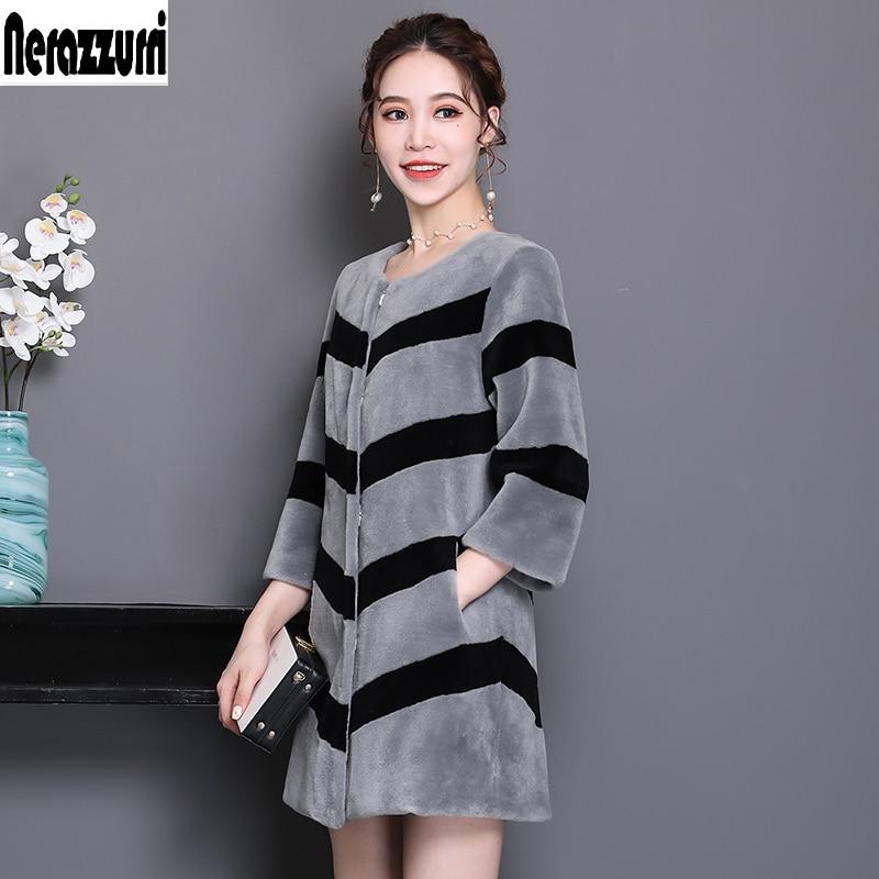 Nerazzurri Winter Real Fur Coats For Women 2019 Gray And Black Striped Lamb Fur Jacket Plus Size Natural Fur Outwear 5xl 6xl 7xl