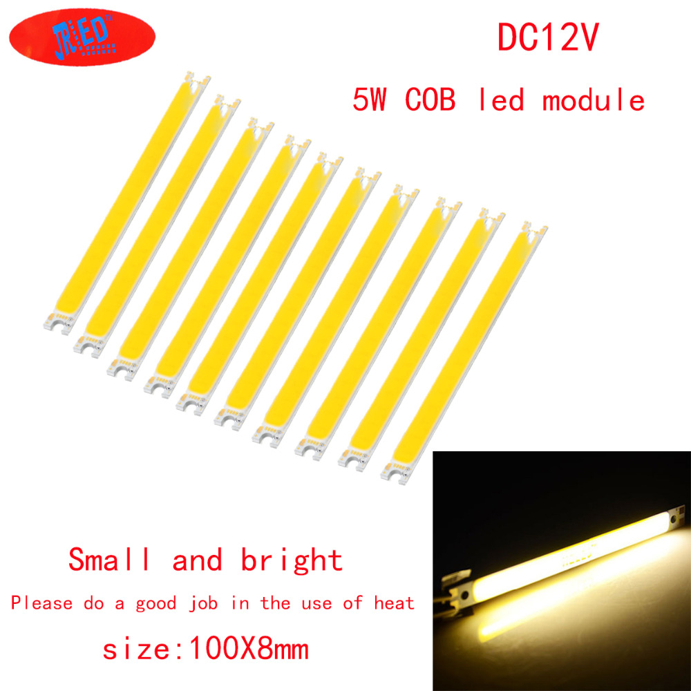 10pcs 5W COB LED Strip Lights White  Warm White Lamp Pure White DC-12-14V 500LM For DIY 100x8mm Wholesale Free Shipping