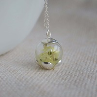 925 Sterling Silver Original Real Dried Crystal Flower Luminous Green Light Pendant Necklace Nature Romantic Handmade