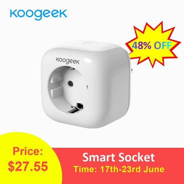 Koogeek Smart Socket Wifi Plug para Apple HomeKit Alexa Google asistente UE enchufe de casa inteligente Monitor de energía Siri Control