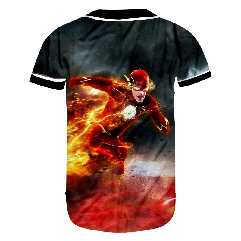 US $16 01 48% OFF|CJLM Men's 3D Full Printed Baseball Shirt Super Hero  Theme Tshirt Red The Flash Man Hip Hop Tops Unisex Streetwear T shirt-in
