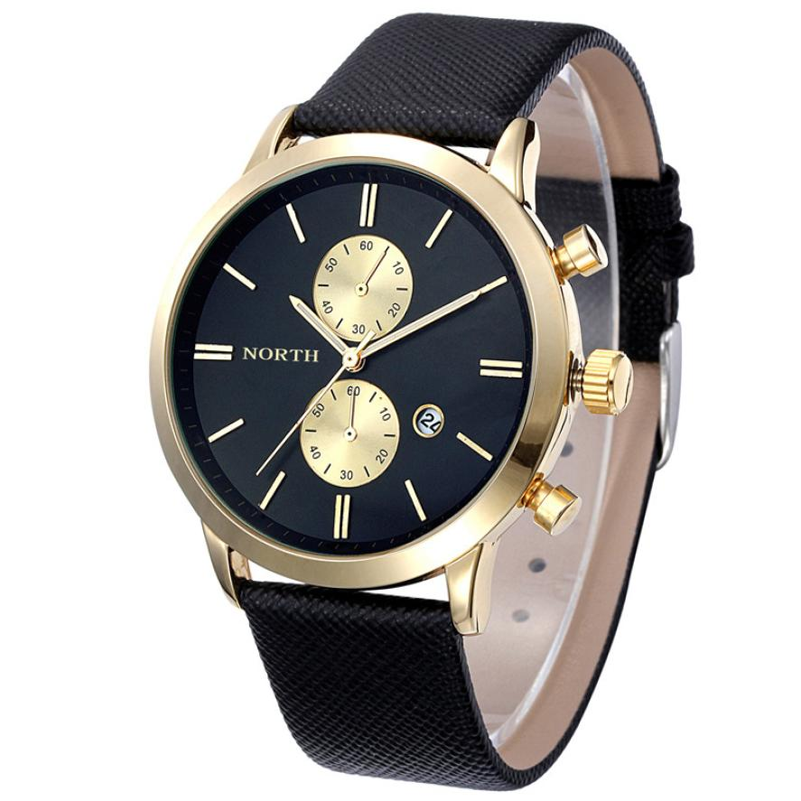 цена North Swiss Five-pin Watch Casual Waterproof Date Leather Military Japan Watch Gift Horloges Mannen Wristwatch Mens Male Clock