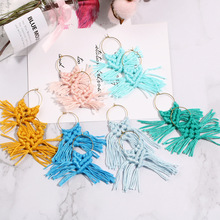 цена на SEDmart   Korea Fashion Vintage Trassel Drop Earrings for Women  DIY  Hand-knitted Wool Tassel Hoop boho Jewelry